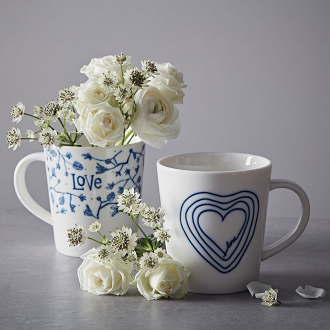 ED Ellen DeGeneres collection Mug Blue Heart 450ml