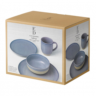 ED Ellen DeGeneres collection - 16 Piece Set Brushed Glaze Polar Blue