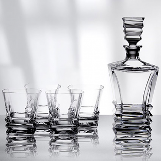 Crystal Prism Decanter Set: Decanter & 4 Tumblers