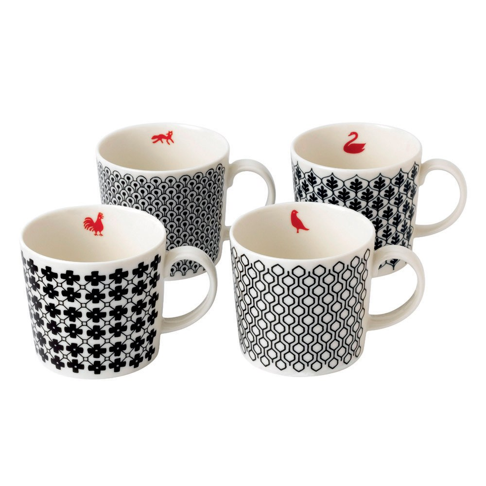Royal Doulton Charlene Mullen Blackwork Set Of 4 Mugs
