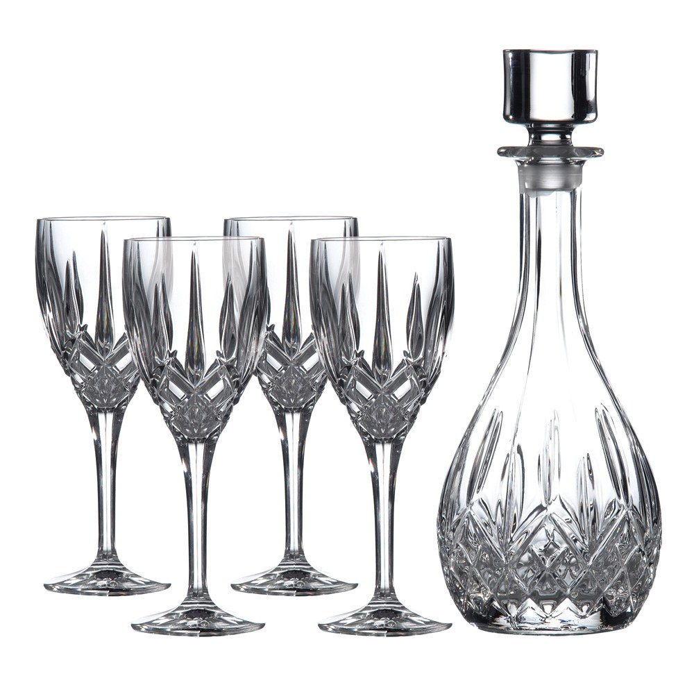Royal doulton wine decanter set decanter 4 wine glasses for Wine carafes and decanters