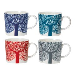 Royal Doulton Fable Accent Set of 4 Tree Mugs
