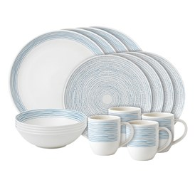 ED Ellen DeGeneres Crafted by Royal Doulton 16 piece set Polar Blue Dots