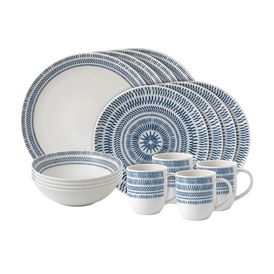 ED Ellen DeGeneres Crafted by Royal Doulton - 16 Piece Set Cobalt Blue Chevron