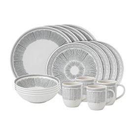 ED Ellen DeGeneres 16 Piece Set Charcoal Grey Lines