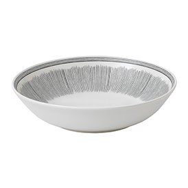 ED Ellen DeGeneres Crafted by Royal Doulton Pasta Bowl 24cm Charcoal Grey Lines