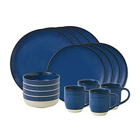 ED Ellen DeGeneres crafted by Royal Doulton collection - 16 Piece Set Brushed Glaze Cobalt Blue