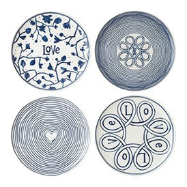 ED Ellen DeGeneres Plate 21cm Blue Love Set of 4