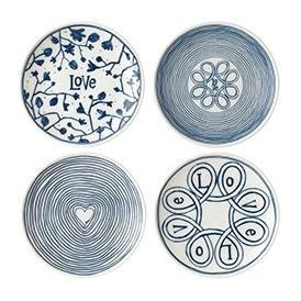 ED Ellen DeGeneres Plate 16cm Blue Love Set of 4