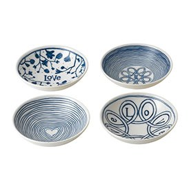 ED Ellen DeGeneres Bowl 14cm Blue Love Set of 4