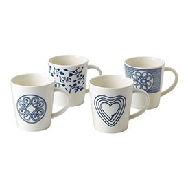 ED Ellen DeGeneres - Mug 450ml Blue Love Set of 4