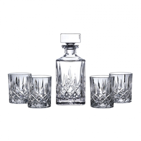 Square Spirit Decanter Set: Decanter & 4 Tumblers