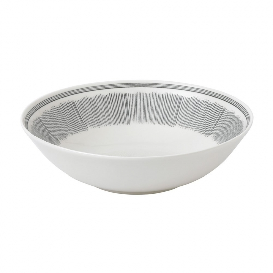 ED Ellen DeGeneres Crafted by Royal Doulton Bowl 29cm Charcoal Grey Lines