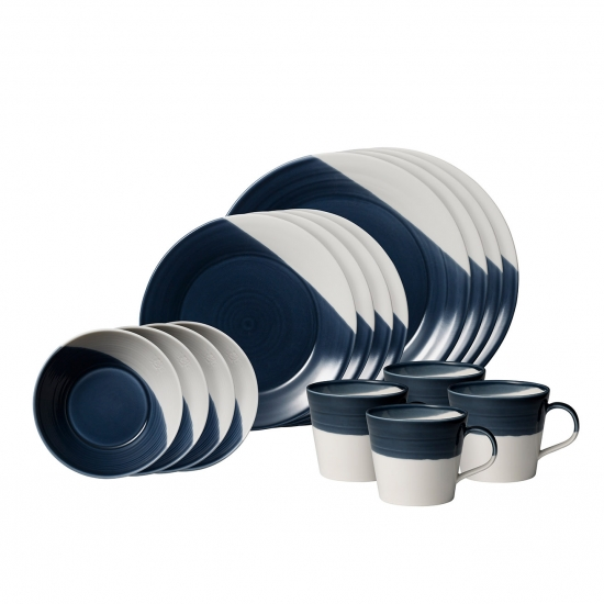 Bowls of Plenty 16 Piece Dark Blue