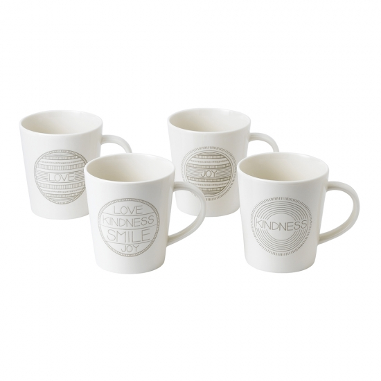 Ellen DeGeneres Taupe Accents 450ml Mugs - Set of 4