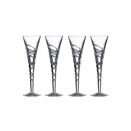 Saturn Nouveau Crystal Flute Set Of 4