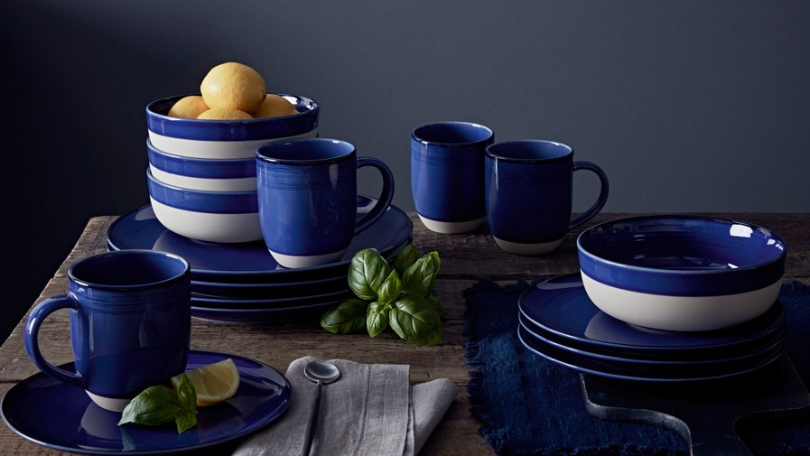 Brushed Glaze Cobalt Blue 16 Piece Set