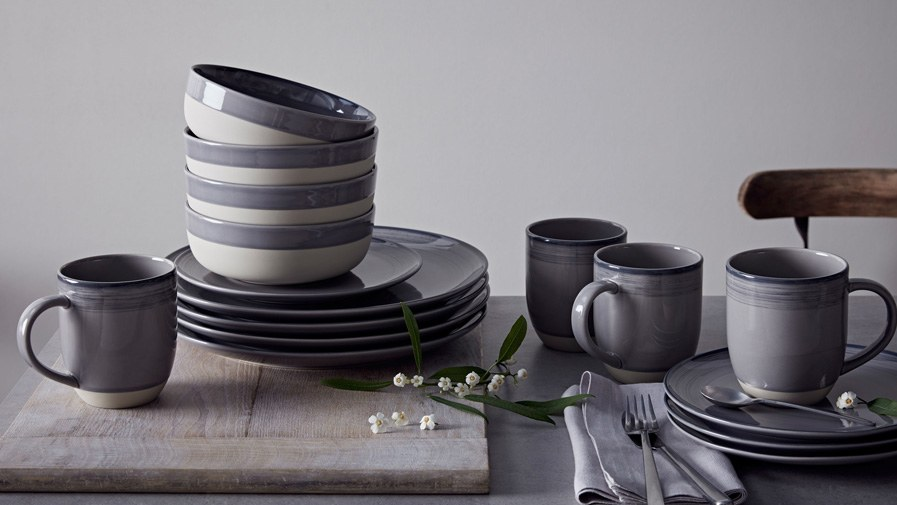 Brushed Glaze Charcoal Grey 16 Piece Set