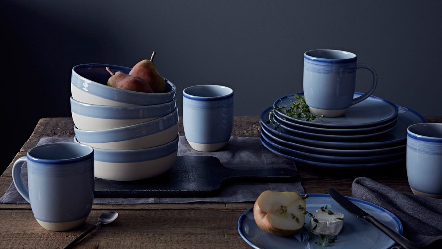 Brushed Glaze Polar Blue 16 Piece Set